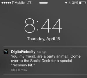 Digital Velocity Push Notification
