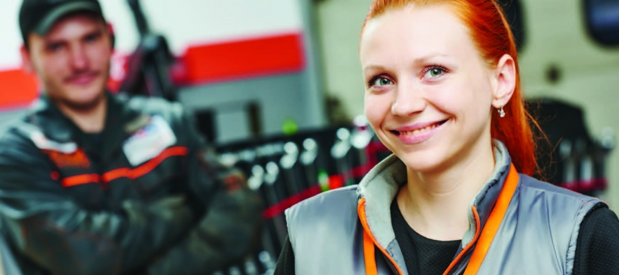 Woman in Auto Parts Store