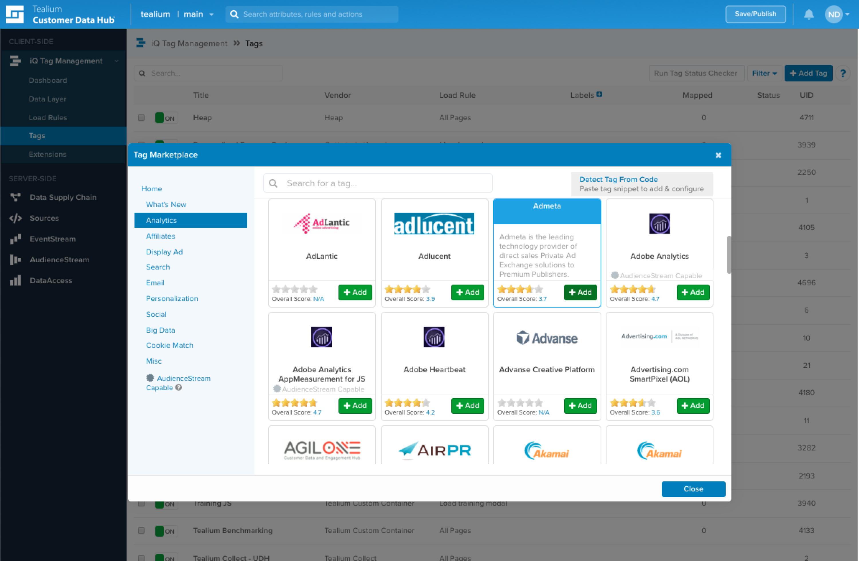Tealium Tag Marketplace Screenshot